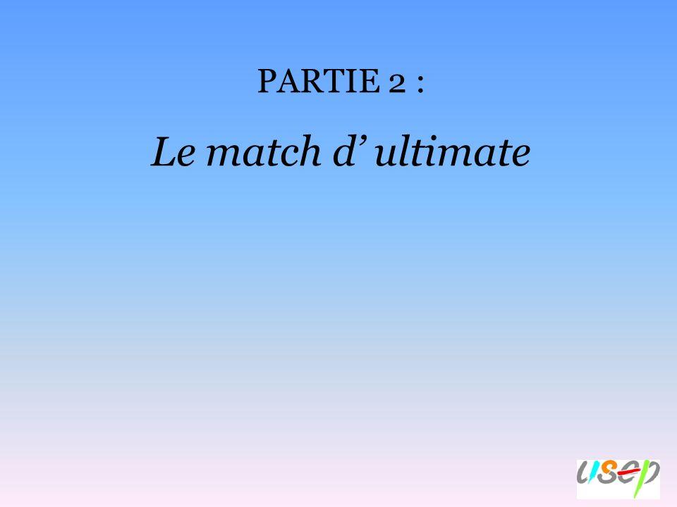 Le match d ultimate, cest : Un terrain : Hand (40m x 20m) ou mini-hand (20m x 20m) ou 30 m x 25 m (dimensions retenues pour les rencontres USEP).