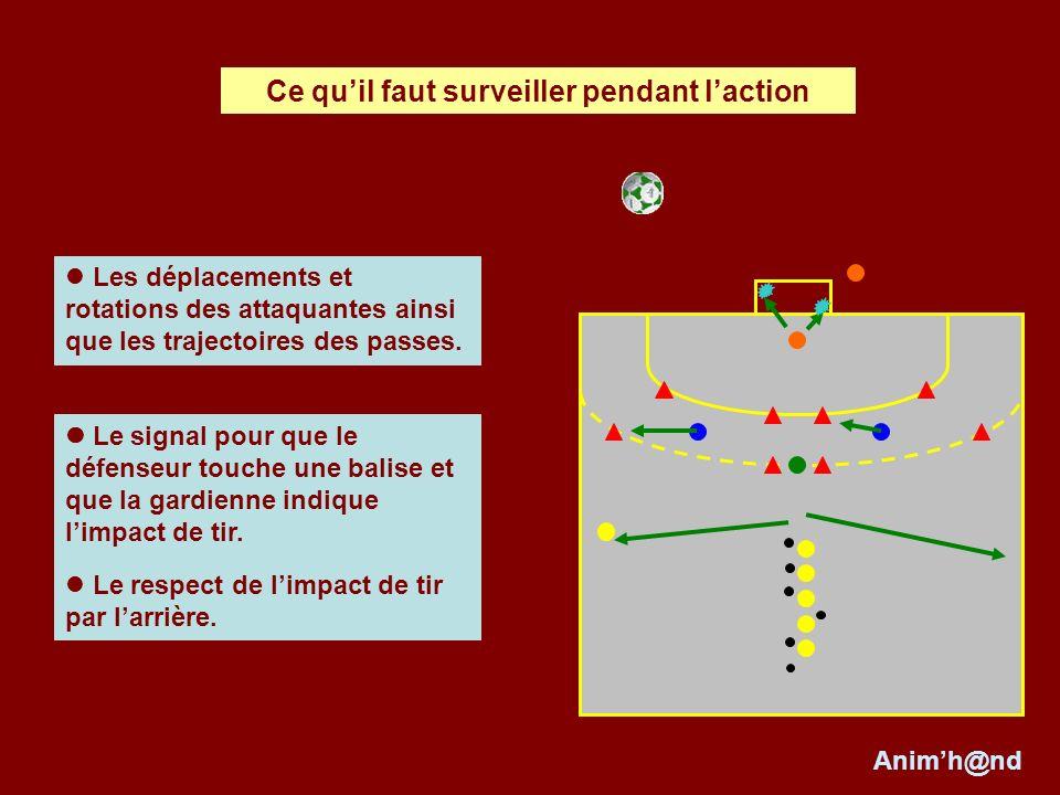 Le signal pour que le défenseur touche une balise et que la gardienne indique limpact de tir.