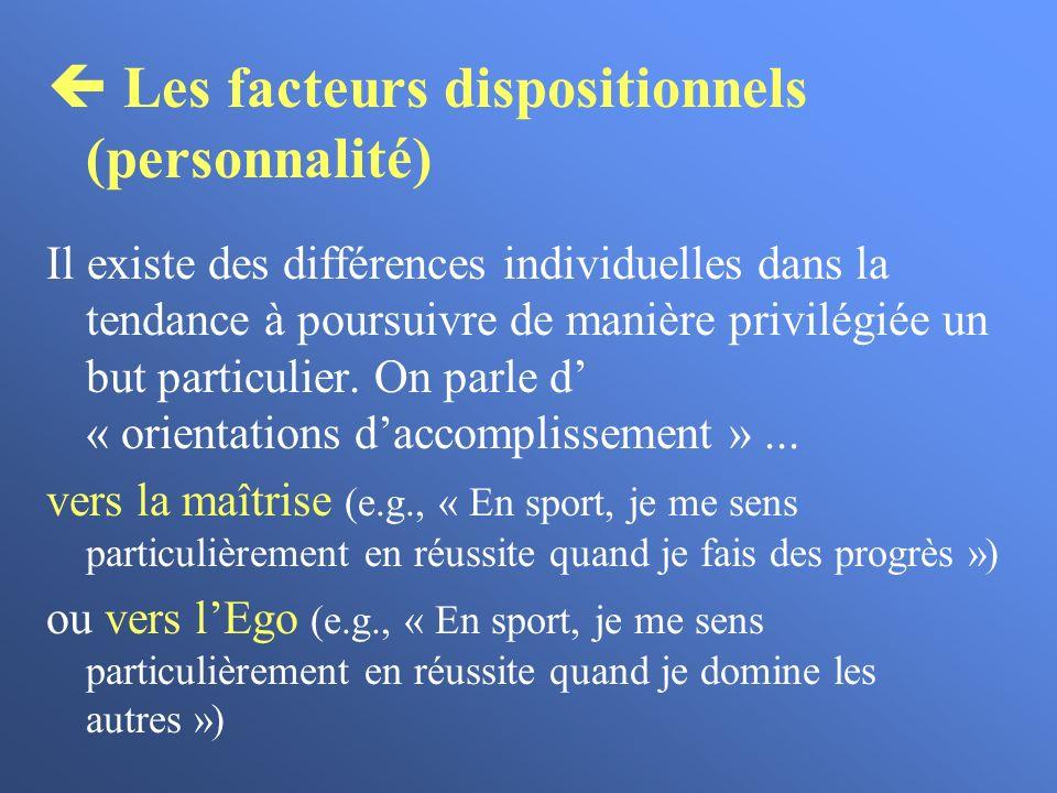 Les facteurs dispositionnels (personnalité) Il existe des différences individuelles dans la tendance à poursuivre de manière privilégiée un but partic