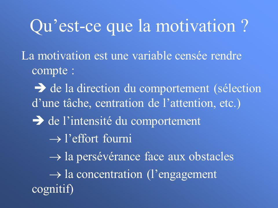 Quest-ce que la motivation ? La motivation est une variable censée rendre compte : de la direction du comportement (sélection dune tâche, centration d