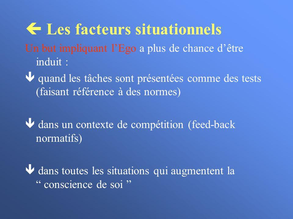 Les facteurs situationnels Un but impliquant lEgo a plus de chance dêtre induit : quand les tâches sont présentées comme des tests (faisant référence