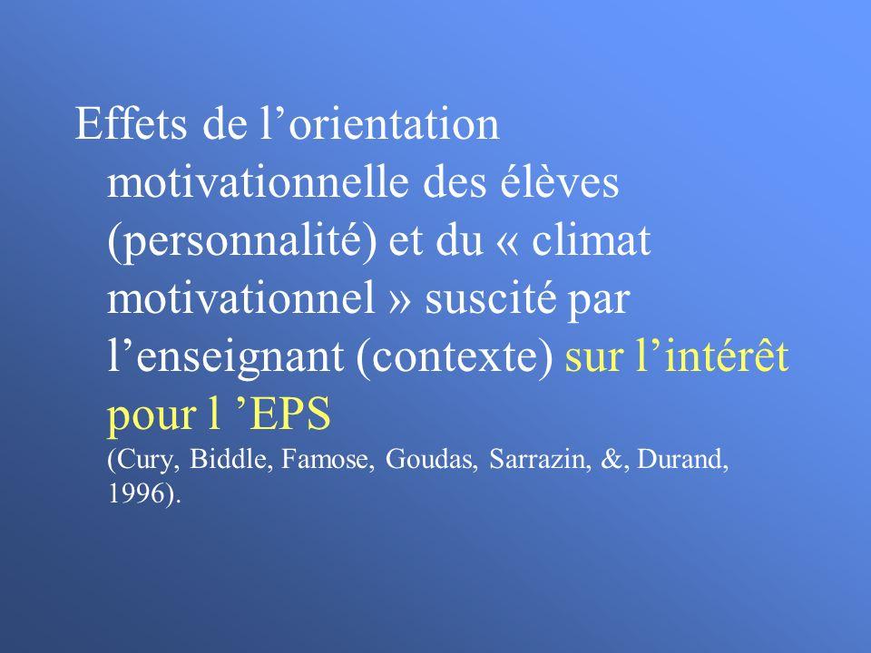 Effets de lorientation motivationnelle des élèves (personnalité) et du « climat motivationnel » suscité par lenseignant (contexte) sur lintérêt pour l