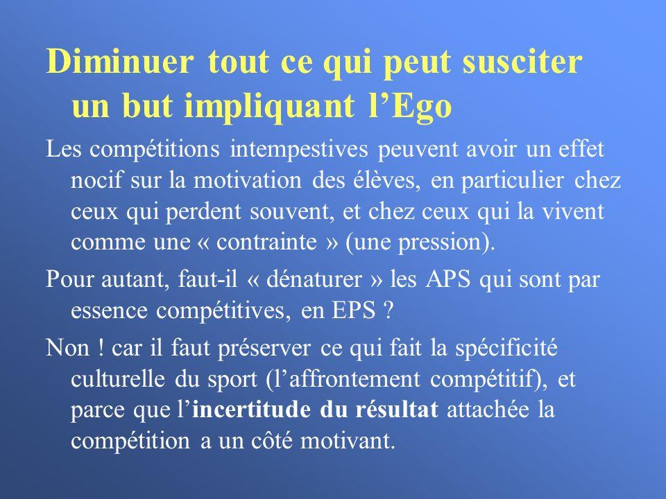 Diminuer tout ce qui peut susciter un but impliquant lEgo Les compétitions intempestives peuvent avoir un effet nocif sur la motivation des élèves, en