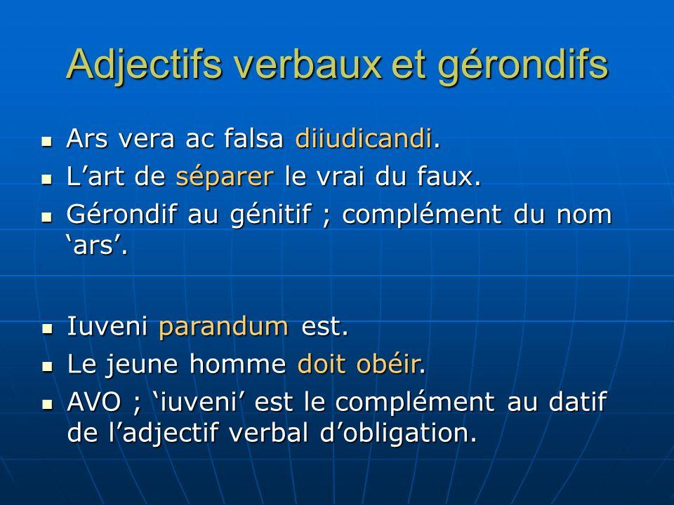 Adjectifs verbaux et gérondifs Ad videndos hostes ascendit.