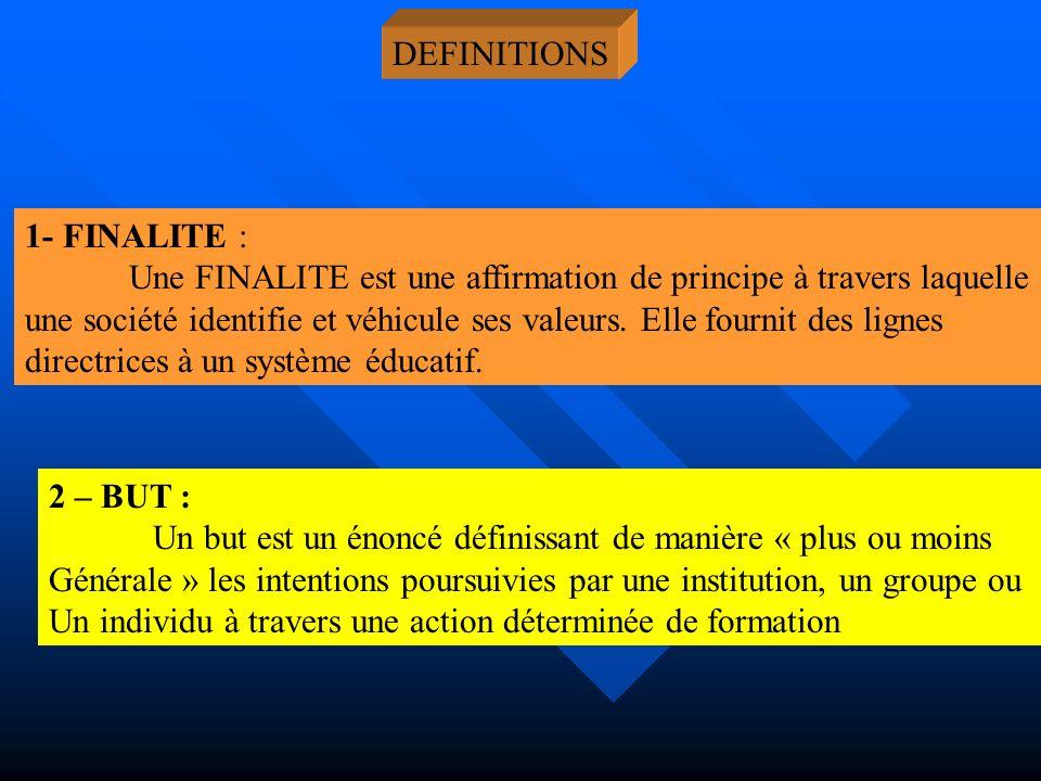 DEFINITIONS 1- FINALITE : Une FINALITE est une affirmation de principe à travers laquelle une société identifie et véhicule ses valeurs. Elle fournit