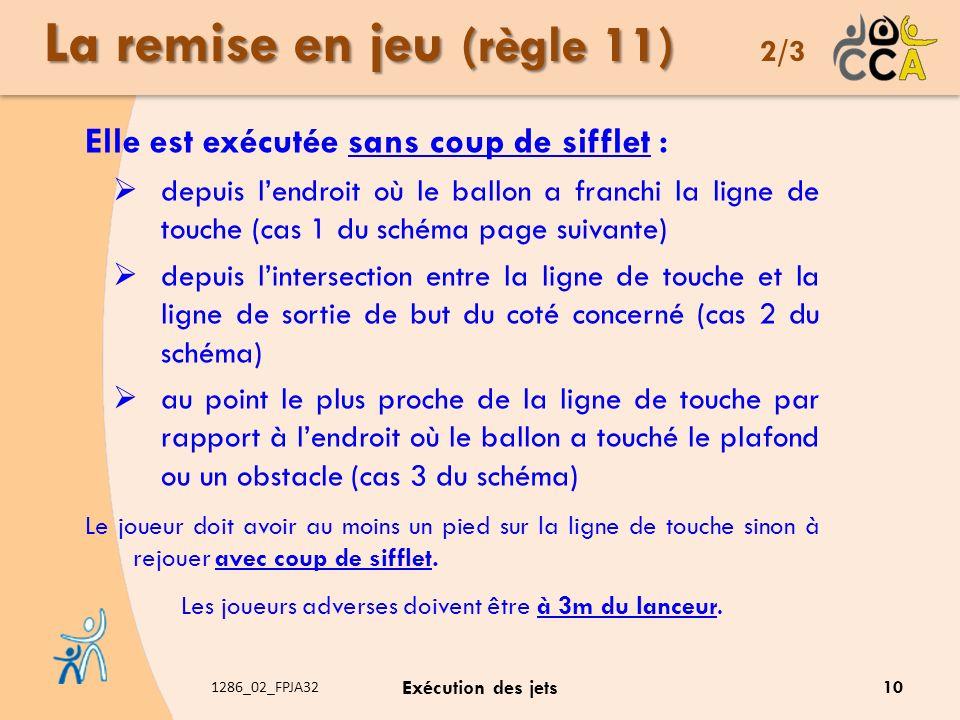 1286_02_FPJA32 Exécution des jets La remise en jeu (règle 11) La remise en jeu (règle 11) 2/3 Elle est exécutée sans coup de sifflet : depuis lendroit