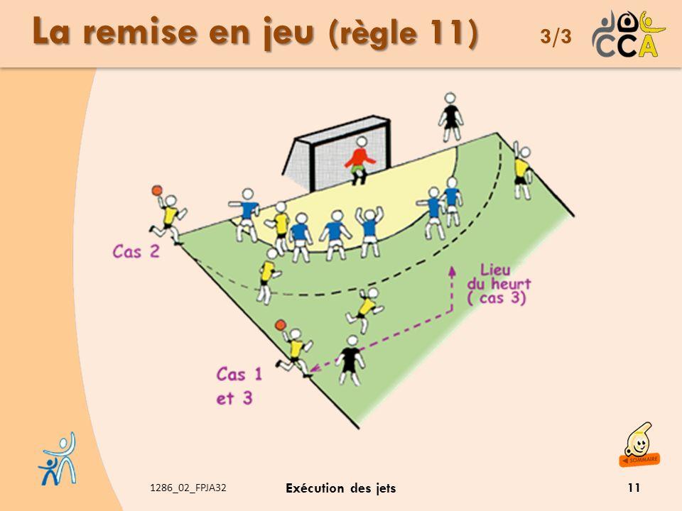 1286_02_FPJA32 Exécution des jets La remise en jeu (règle 11) La remise en jeu (règle 11) 3/3 11