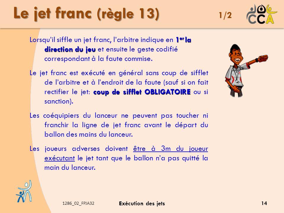 1286_02_FPJA32 Exécution des jets Le jet franc (règle 13) Le jet franc (règle 13) 1/2 1 er la direction du jeu Lorsquil siffle un jet franc, larbitre