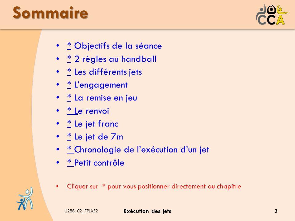 1286_02_FPJA32 Exécution des jets Sommaire * Objectifs de la séance * * 2 règles au handball * * Les différents jets * * Lengagement * * La remise en