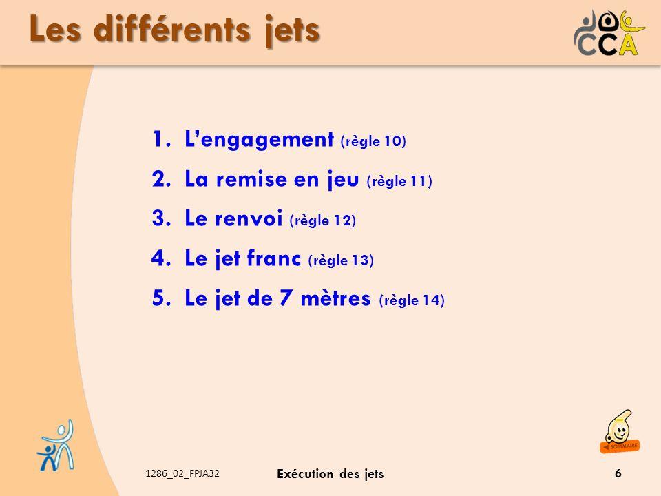 1286_02_FPJA32 Exécution des jets Les différents jets 1.Lengagement (règle 10) 2.La remise en jeu (règle 11) 3.Le renvoi (règle 12) 4.Le jet franc (rè
