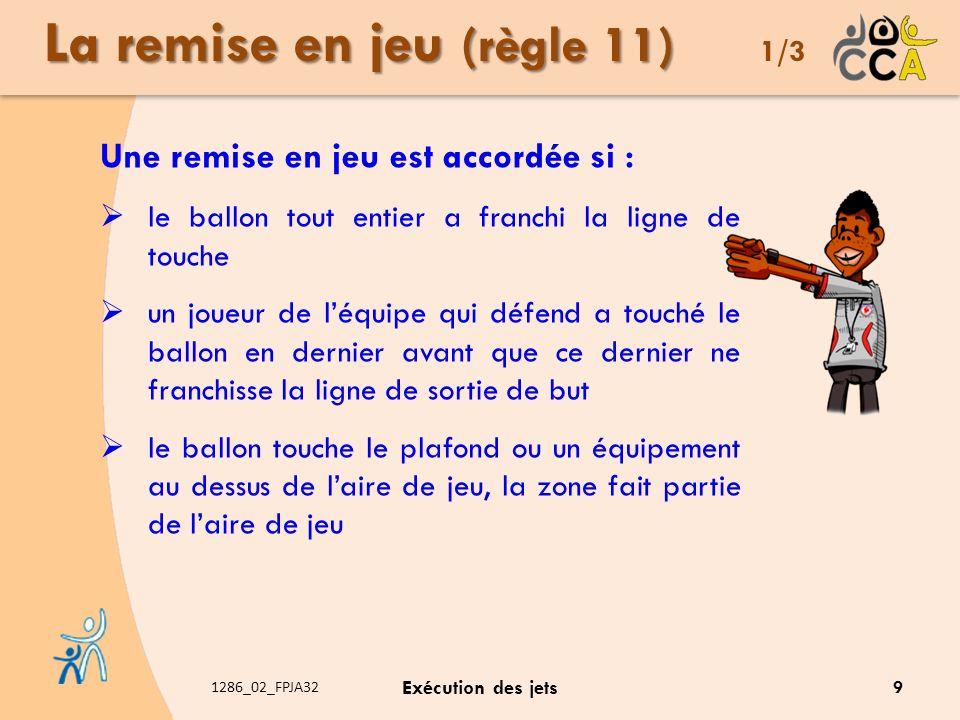 1286_02_FPJA32 Exécution des jets La remise en jeu (règle 11) La remise en jeu (règle 11) 1/3 Une remise en jeu est accordée si : le ballon tout entie