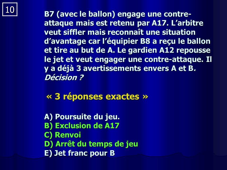 10 B7 (avec le ballon) engage une contre- attaque mais est retenu par A17.