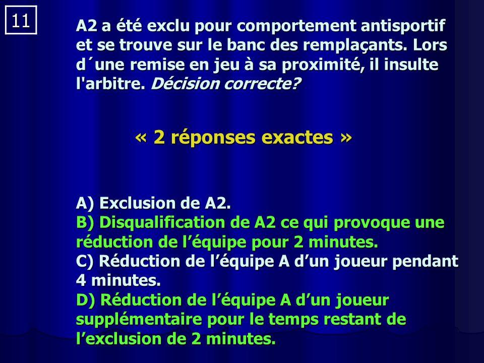 11 A2 a été exclu pour comportement antisportif et se trouve sur le banc des remplaçants.