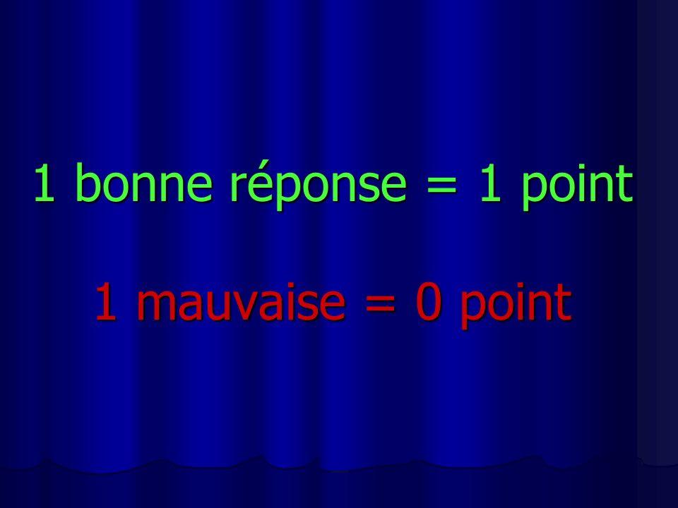 1 bonne réponse = 1 point 1 mauvaise = 0 point