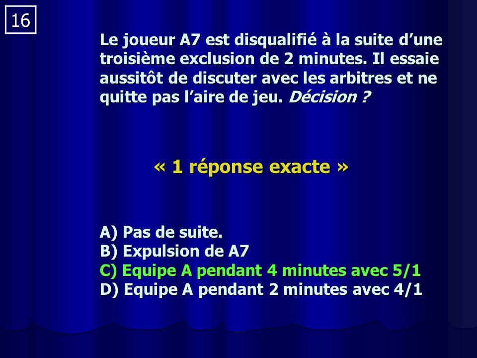 16 Le joueur A7 est disqualifié à la suite dune troisième exclusion de 2 minutes.