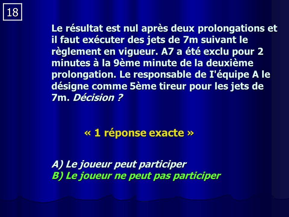 18 Le résultat est nul après deux prolongations et il faut exécuter des jets de 7m suivant le règlement en vigueur.
