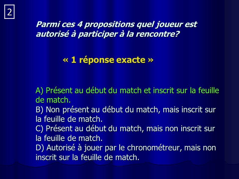 Parmi ces 4 propositions quel joueur est autorisé à participer à la rencontre.