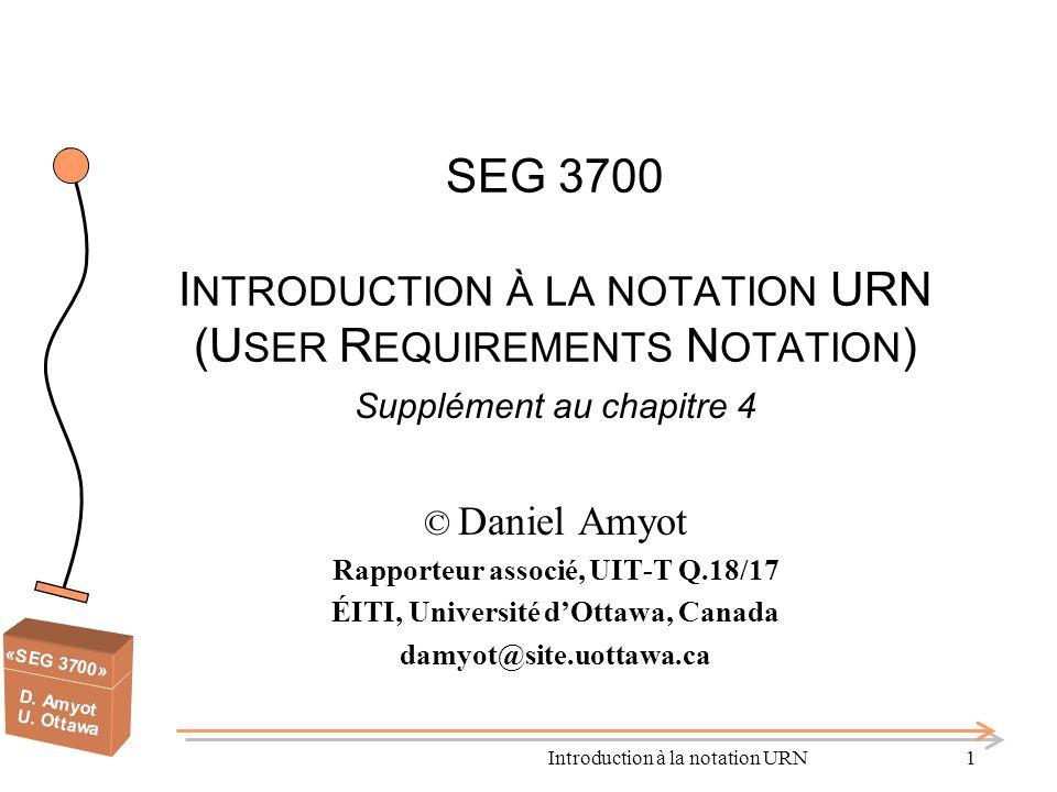 Introduction à la notation URN42 Points importants – Définitions de scénarios Améliorent la compréhension de (longs) scénarios Le modèle de donnée pour chemins UCM nest pas un modèle de donnée du domaine dapplication Base pour fonctionnalités avancées utilisant le mécanisme de parcours des UCM mise en évidence génération de MSC, LQN, UML, TTCN… Lautomatisation de ce processus rapporte beaucoup de bénéfices par rapport à leffort investi