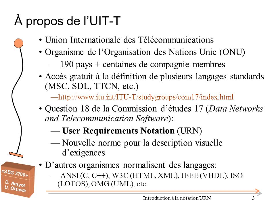 Introduction à la notation URN3 À propos de lUIT-T Union Internationale des Télécommunications Organisme de lOrganisation des Nations Unie (ONU) 190 p