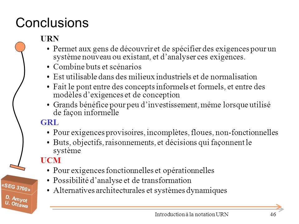 Introduction à la notation URN46 Conclusions URN Permet aux gens de découvrir et de spécifier des exigences pour un système nouveau ou existant, et da