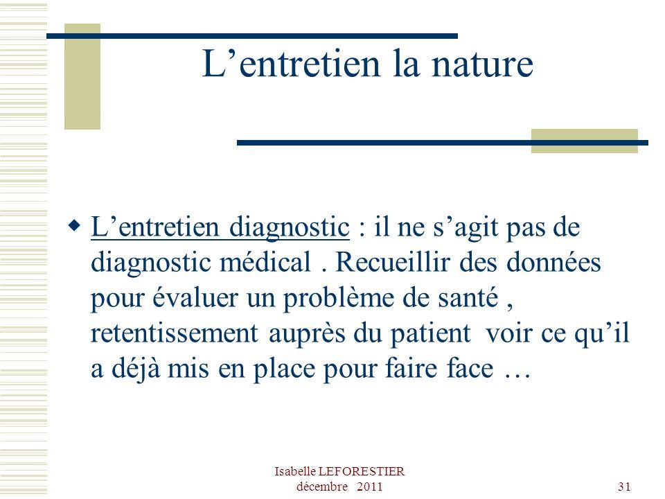 Isabelle LEFORESTIER décembre 201131 Lentretien la nature Lentretien diagnostic : il ne sagit pas de diagnostic médical. Recueillir des données pour é
