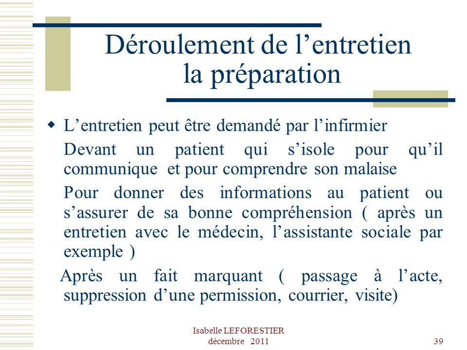 Isabelle LEFORESTIER décembre 201139 Déroulement de lentretien la préparation Lentretien peut être demandé par linfirmier Devant un patient qui sisole