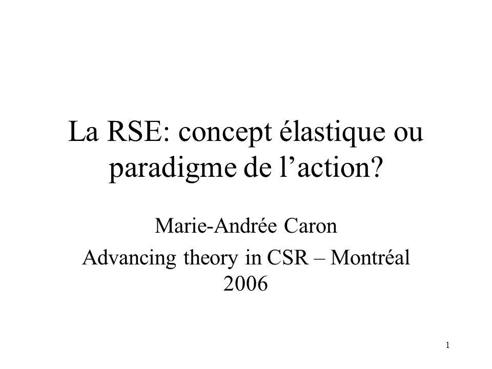 1 La RSE: concept élastique ou paradigme de laction? Marie-Andrée Caron Advancing theory in CSR – Montréal 2006
