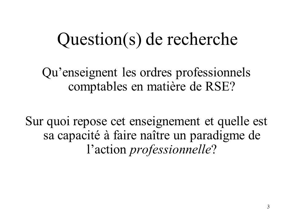 3 Question(s) de recherche Quenseignent les ordres professionnels comptables en matière de RSE? Sur quoi repose cet enseignement et quelle est sa capa