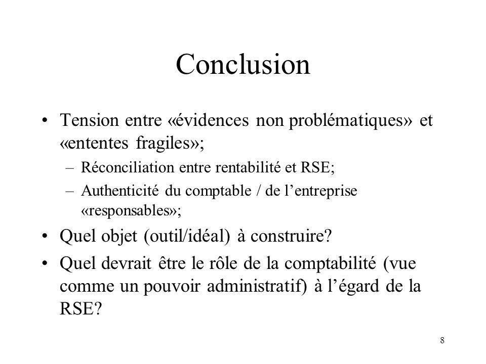 8 Conclusion Tension entre «évidences non problématiques» et «ententes fragiles»; –Réconciliation entre rentabilité et RSE; –Authenticité du comptable / de lentreprise «responsables»; Quel objet (outil/idéal) à construire.