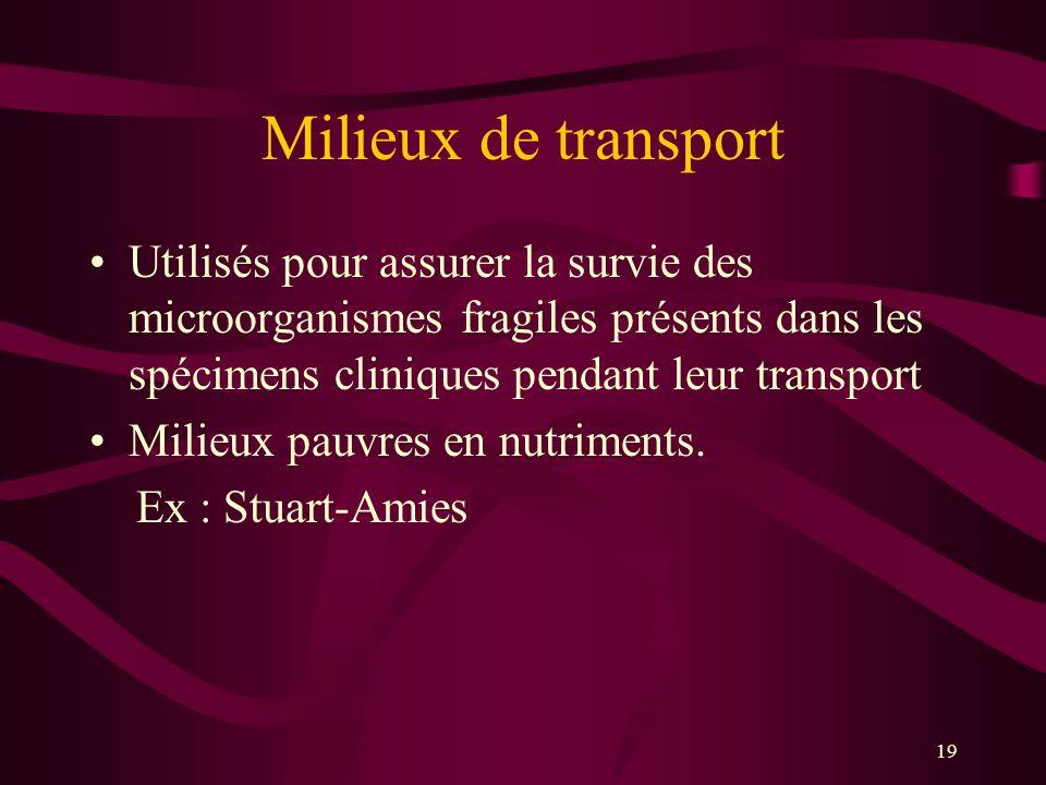 19 Milieux de transport Utilisés pour assurer la survie des microorganismes fragiles présents dans les spécimens cliniques pendant leur transport Milieux pauvres en nutriments.