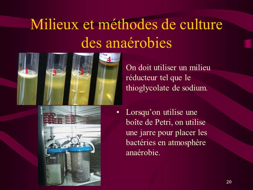 20 Milieux et méthodes de culture des anaérobies On doit utiliser un milieu réducteur tel que le thioglycolate de sodium.