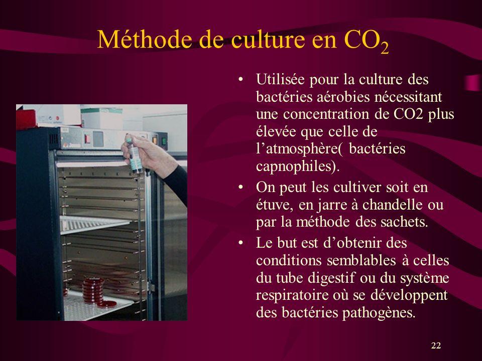 22 Méthode de culture en CO 2 Utilisée pour la culture des bactéries aérobies nécessitant une concentration de CO2 plus élevée que celle de latmosphère( bactéries capnophiles).
