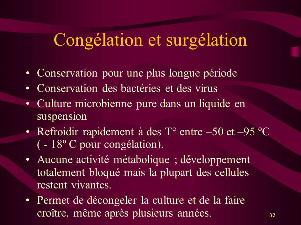 32 Congélation et surgélation Conservation pour une plus longue période Conservation des bactéries et des virus Culture microbienne pure dans un liquide en suspension Refroidir rapidement à des T° entre –50 et –95 ºC ( - 18º C pour congélation).