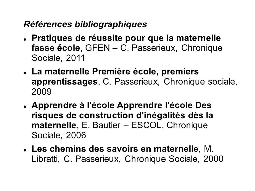 Références bibliographiques Pratiques de réussite pour que la maternelle fasse école, GFEN – C. Passerieux, Chronique Sociale, 2011 La maternelle Prem