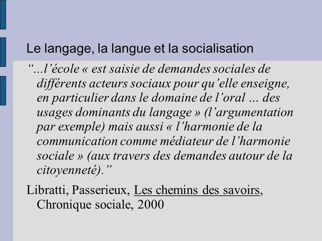 Le langage, la langue et la socialisation...lécole « est saisie de demandes sociales de différents acteurs sociaux pour quelle enseigne, en particulie