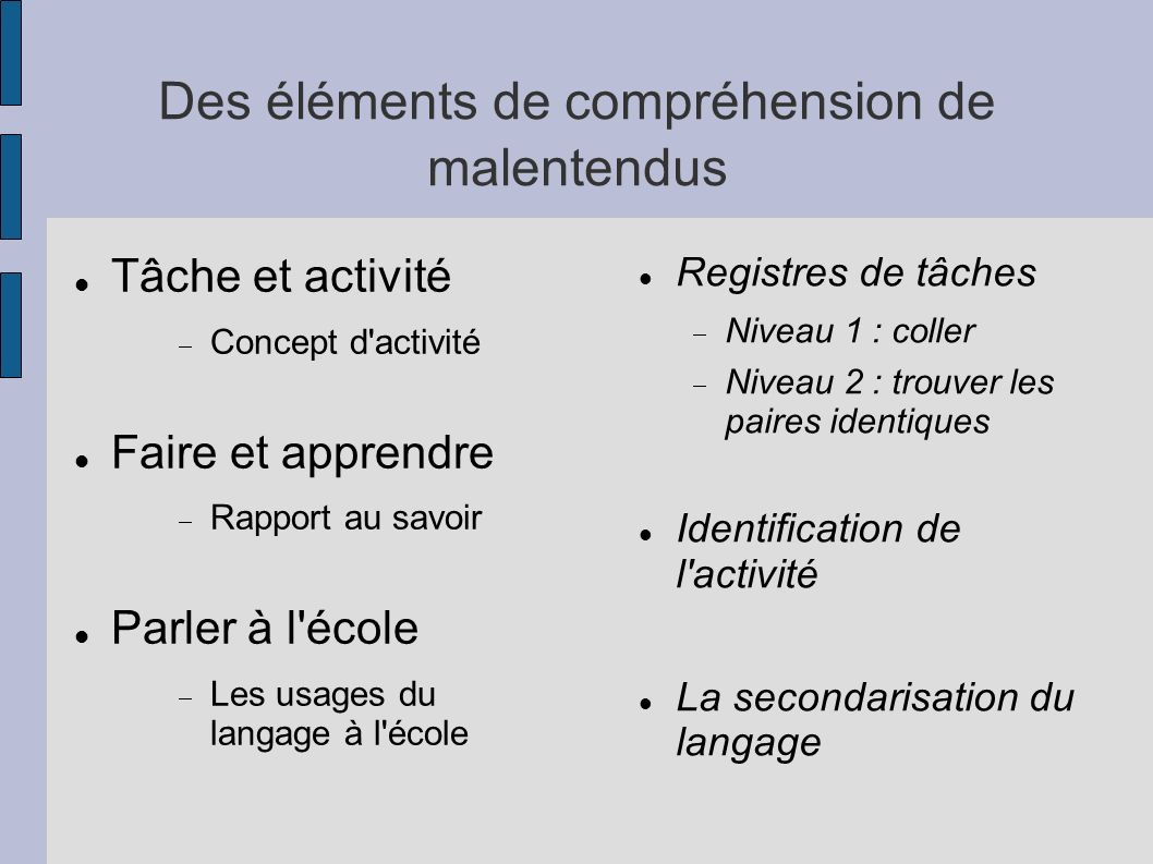 Des éléments de compréhension de malentendus Tâche et activité Concept d'activité Faire et apprendre Rapport au savoir Parler à l'école Les usages du