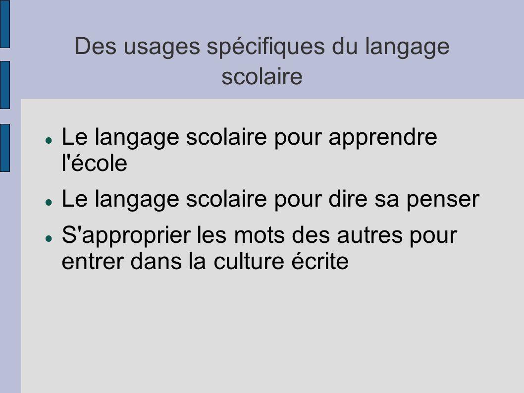Des usages spécifiques du langage scolaire Le langage scolaire pour apprendre l'école Le langage scolaire pour dire sa penser S'approprier les mots de