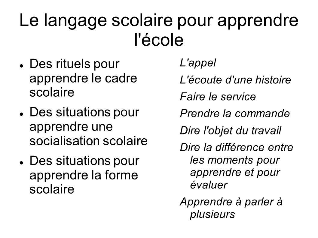 Le langage scolaire pour apprendre l'école Des rituels pour apprendre le cadre scolaire Des situations pour apprendre une socialisation scolaire Des s