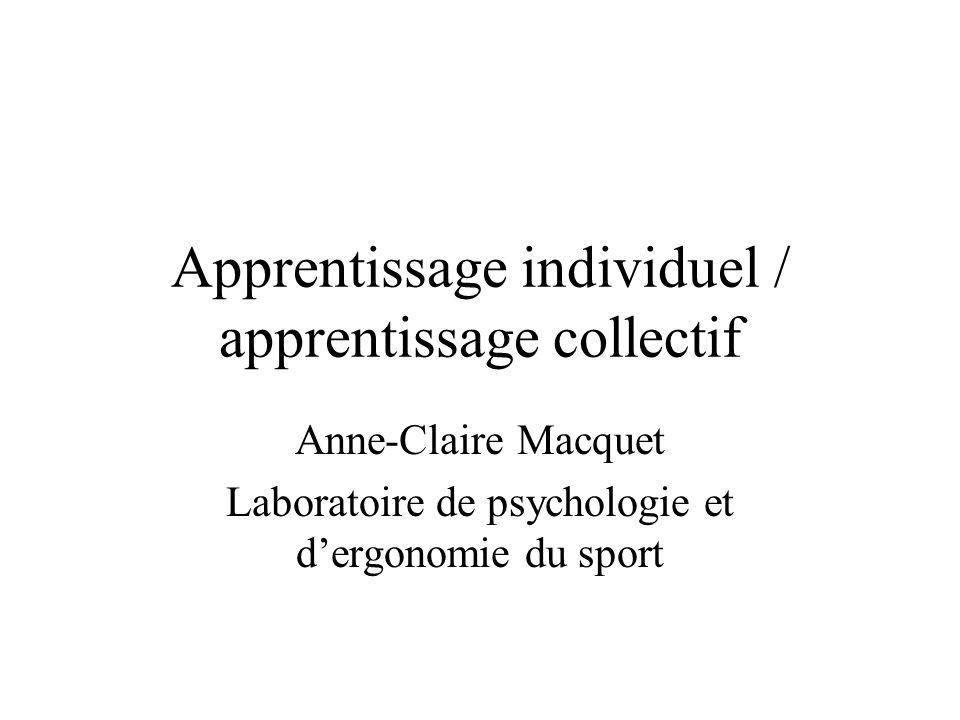Apprentissage individuel / apprentissage collectif Anne-Claire Macquet Laboratoire de psychologie et dergonomie du sport