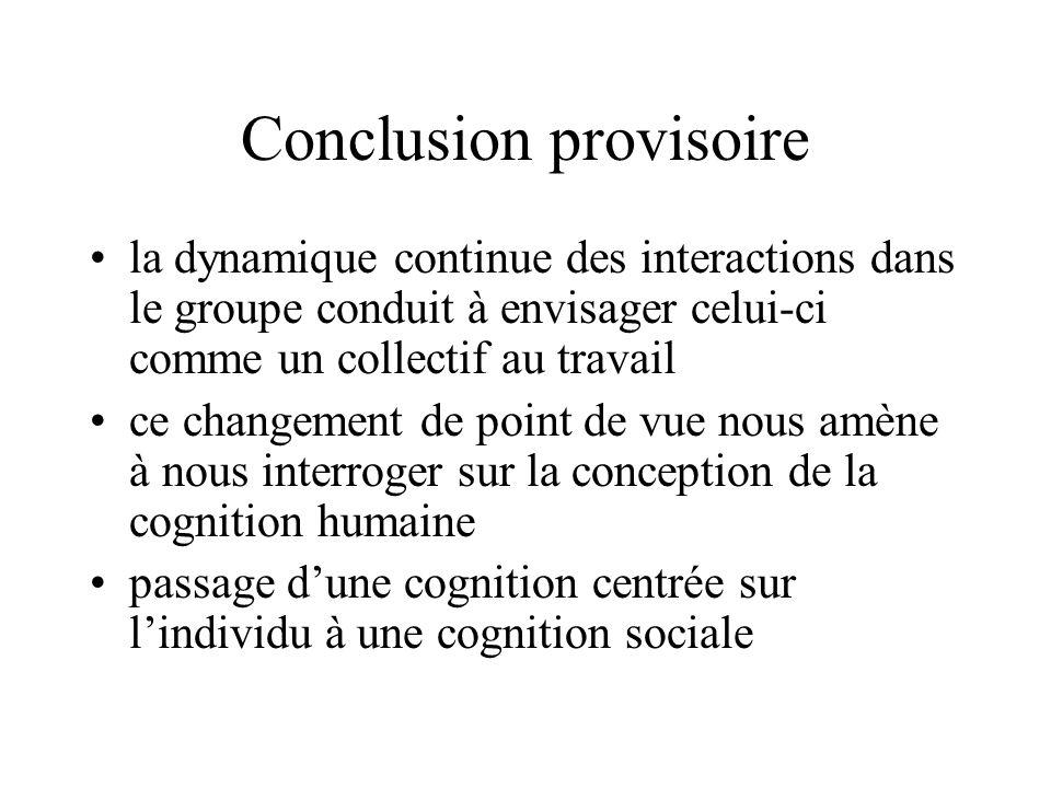Conclusion provisoire la dynamique continue des interactions dans le groupe conduit à envisager celui-ci comme un collectif au travail ce changement d
