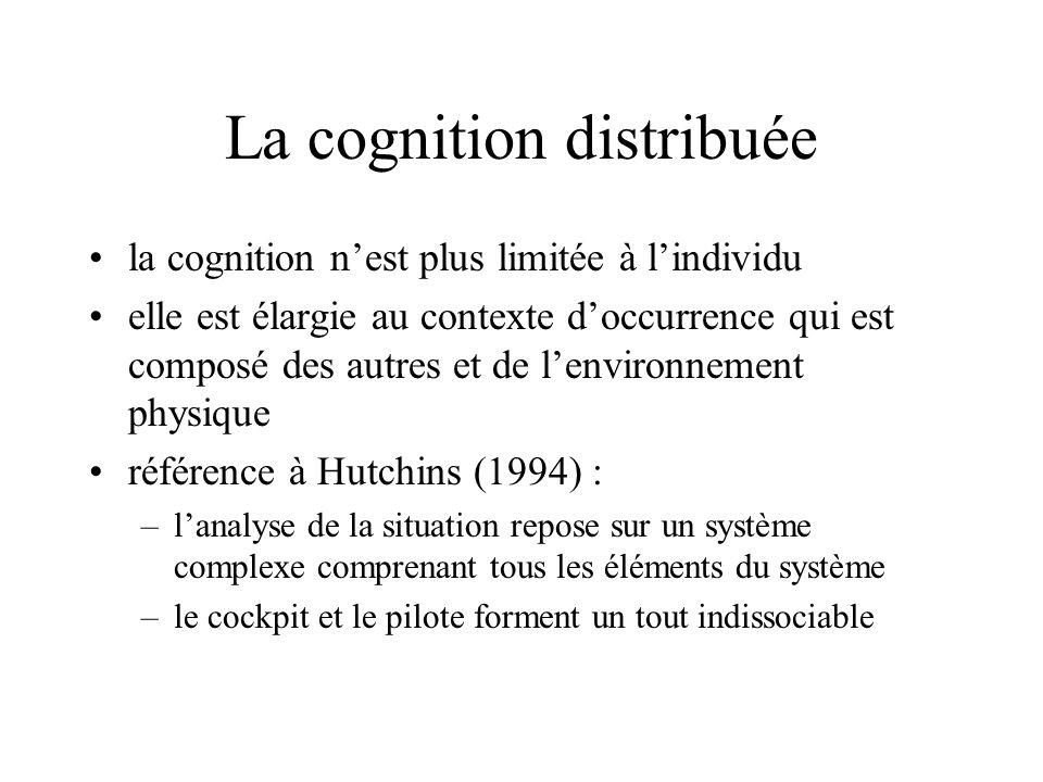 La cognition distribuée la cognition nest plus limitée à lindividu elle est élargie au contexte doccurrence qui est composé des autres et de lenvironn