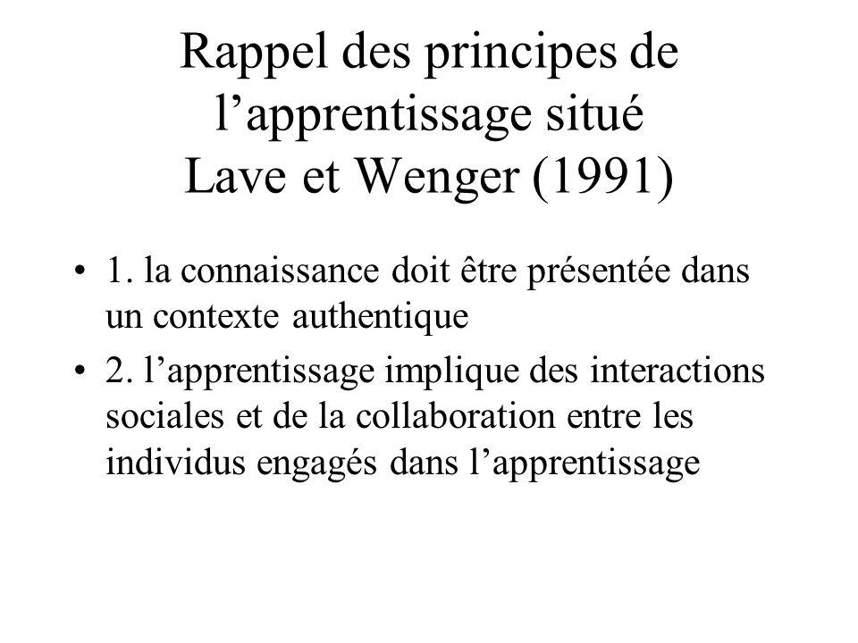 Rappel des principes de lapprentissage situé Lave et Wenger (1991) 1. la connaissance doit être présentée dans un contexte authentique 2. lapprentissa