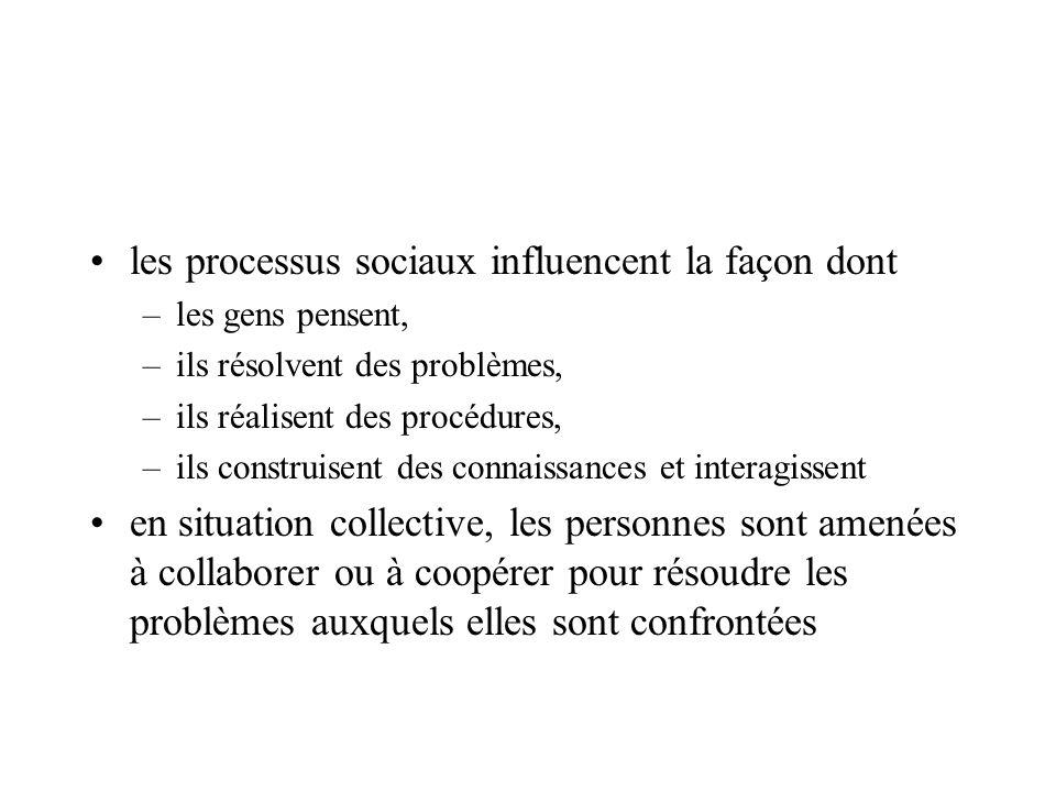 les processus sociaux influencent la façon dont –les gens pensent, –ils résolvent des problèmes, –ils réalisent des procédures, –ils construisent des