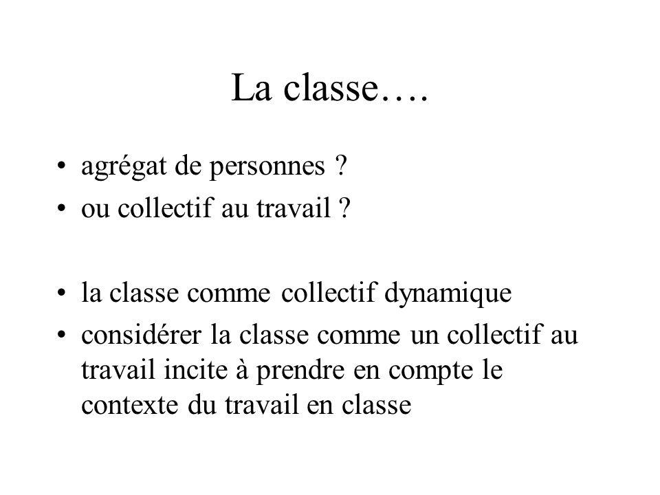 La classe…. agrégat de personnes ? ou collectif au travail ? la classe comme collectif dynamique considérer la classe comme un collectif au travail in