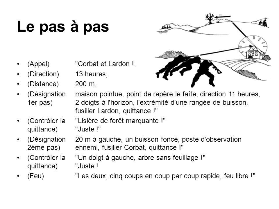 La balle lumineuse (Appel) FM, (Direction)11 heures, (Distance)500 m, (Désignation)ma lumineuse (Quittance)- (Feu)Feu libre !