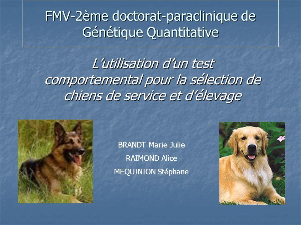 FMV-2ème doctorat-paraclinique de Génétique Quantitative Lutilisation dun test comportemental pour la sélection de chiens de service et délevage BRANDT Marie-Julie RAIMOND Alice MEQUINION Stéphane
