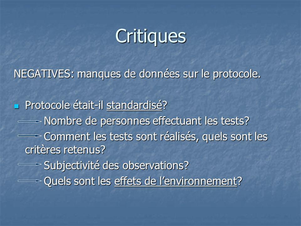 Critiques NEGATIVES: manques de données sur le protocole. Protocole était-il standardisé? Protocole était-il standardisé? Nombre de personnes effectua