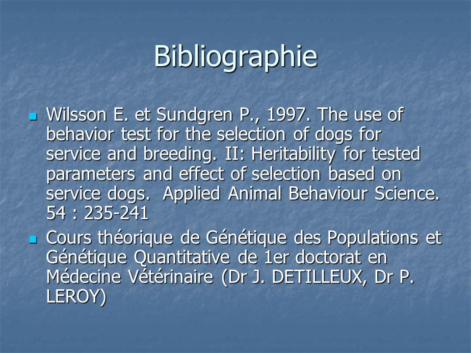 Bibliographie Wilsson E.et Sundgren P., 1997.