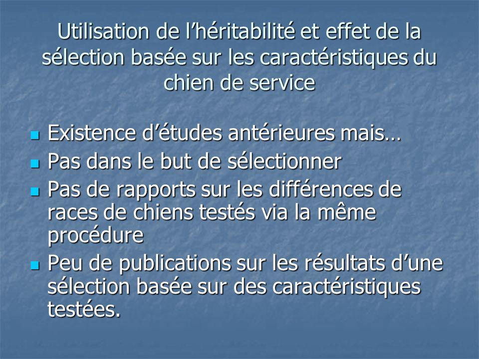 Utilisation de lhéritabilité et effet de la sélection basée sur les caractéristiques du chien de service Existence détudes antérieures mais… Existence