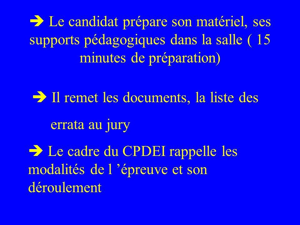Le candidat prépare son matériel, ses supports pédagogiques dans la salle ( 15 minutes de préparation) Il remet les documents, la liste des errata au
